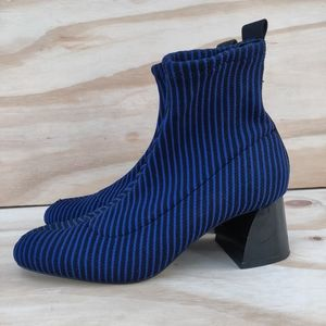 ZARA Women's Ankle Boots Blue Black Contrast Strip